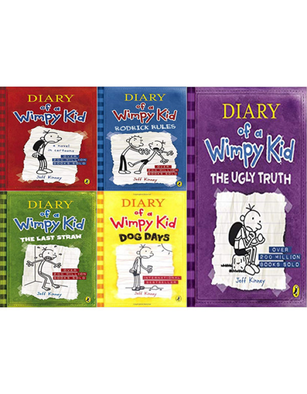 Diary of a Wimpy Kid book 5 Book Set By Jeff Kinne...
