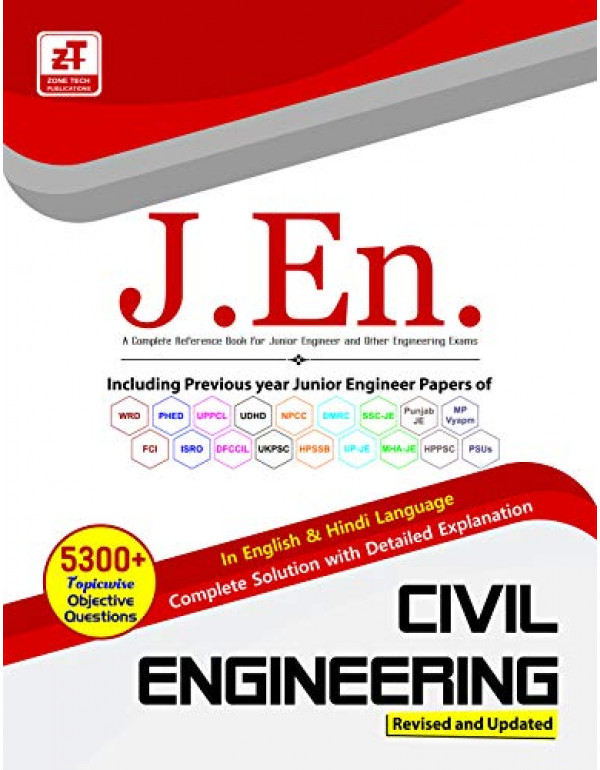 5300+ MCQs : Civil Engineering - Practice Book for ALL JUNIOR ENGINEER Exams (English & Hindi, Paperback, Zone Tech Publication) By WRD, PHED, PWD JUNIOR ENGINEER