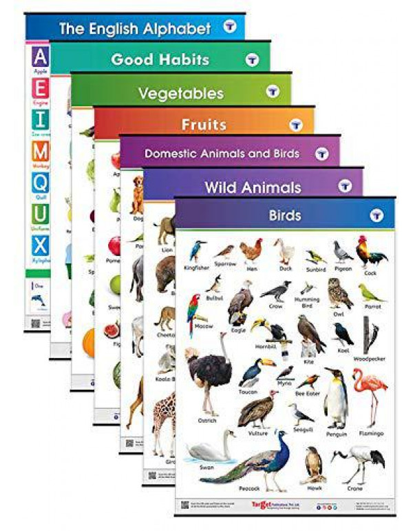 Jumbo All in One Educational Charts for Kids | Learn about English Alphabets, Fruits, Vegetables, Good Habits, Domestic, Wild Animals & Birds with Colourful Pictures for Children | 39.25 x 27.25 Inch By Content Team at Target Publications