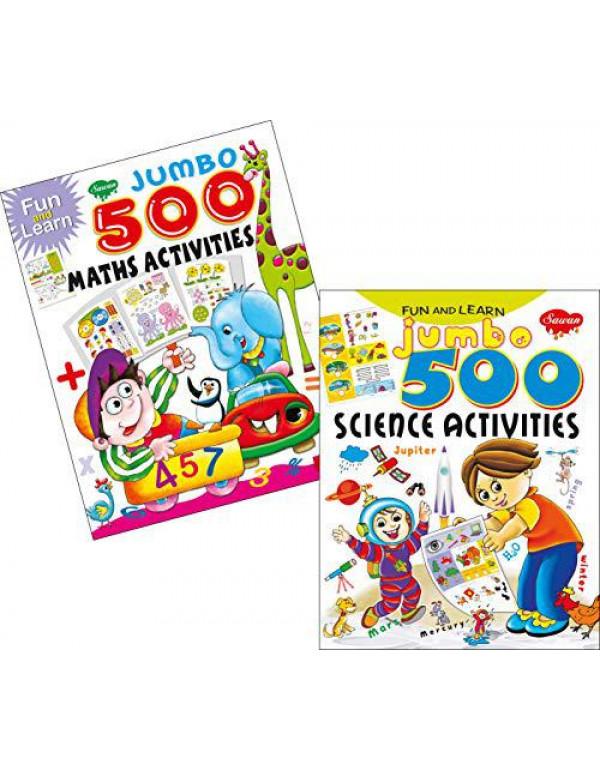 Sawan Set of 2 activity books Fun & Learn Jumbo 500 series (Maths & Sceince) By Sawan