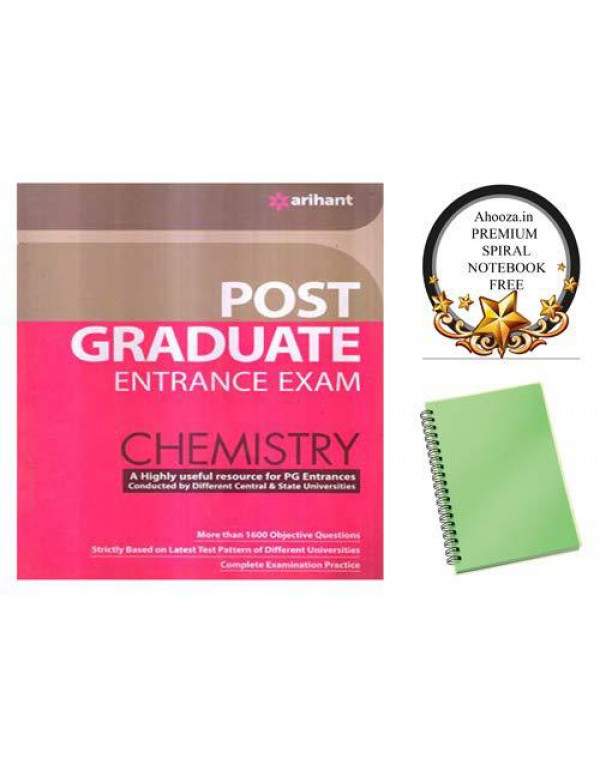 arihant Post Graduate Entrance Exam Chemistry Book in English With Ahooza Premium Spiral Notebook Get Free By arihant
