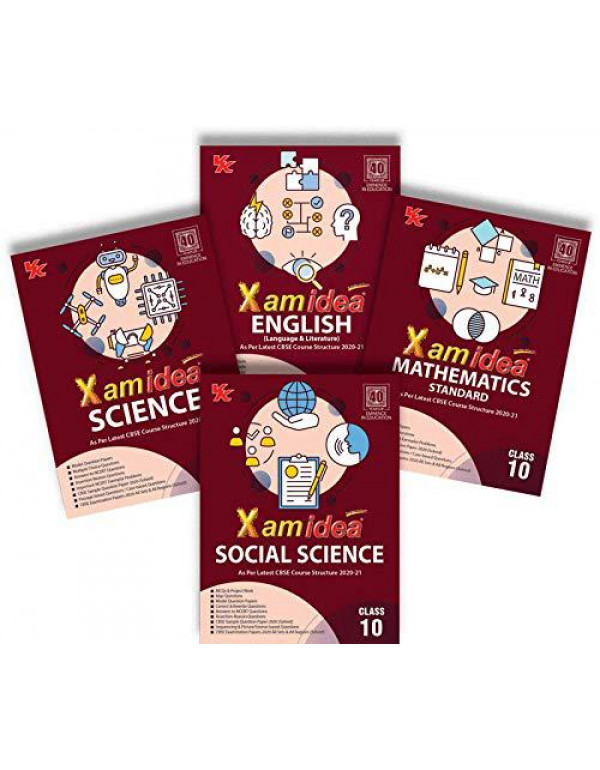 Xamidea Class 10 Bundle Set of 4 Books (Social Science, Science, Mathematics and English) - CBSE - Examination 2020-21 By Editorial Board